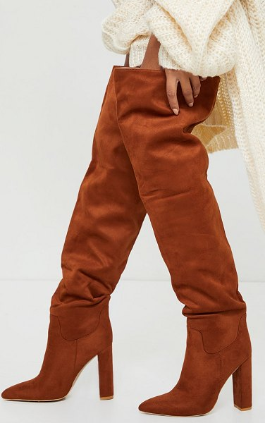 PrettyLittleThing faux suede pointed flat block heel over knee heeled boots in tan