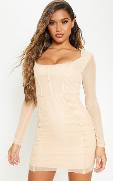PrettyLittleThing fawn sheer mesh square neck binding detail bodycon dress in nude