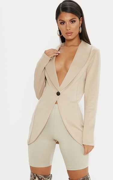 PrettyLittleThing fitted blazer in stone