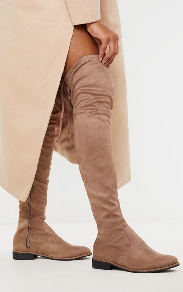 PrettyLittleThing flat over the knee boot in taupe