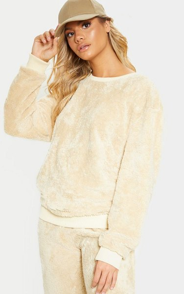 PrettyLittleThing fleece oversized sweater in beige