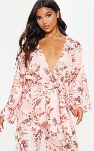 PrettyLittleThing floral belted woven blazer in pink