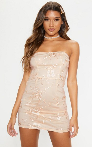 PrettyLittleThing floral embroidered bandeau bodycon dress in nude