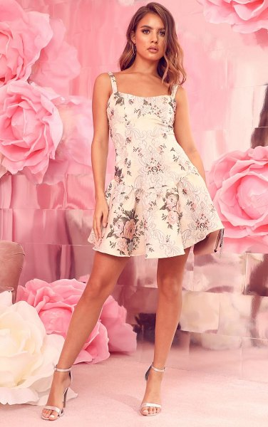 PrettyLittleThing floral jacquard frill hem bodycon dress in champagne