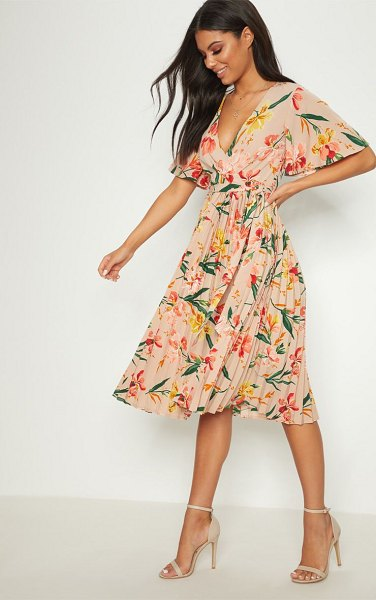 PrettyLittleThing floral pleated midi dress in pink