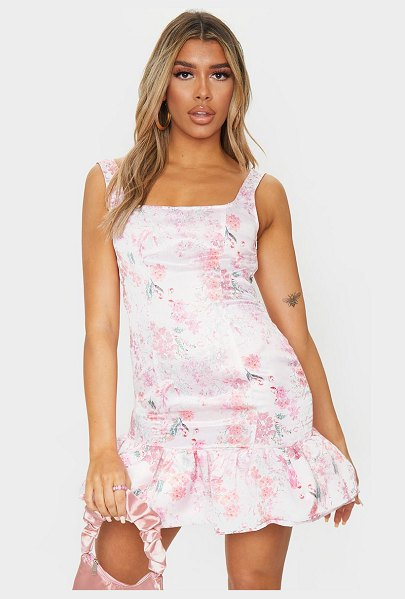 PrettyLittleThing floral print satin sleeveless frill hem bodycon dress in pink