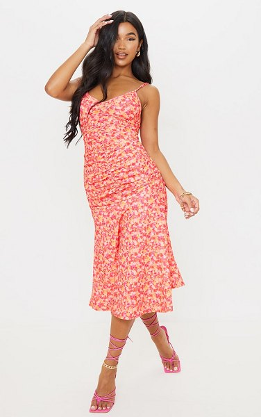 PrettyLittleThing floral print strappy ruched flare hem midi dress in pink