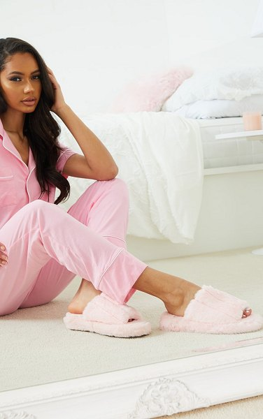 PrettyLittleThing fluffy wide strap slippers in pink