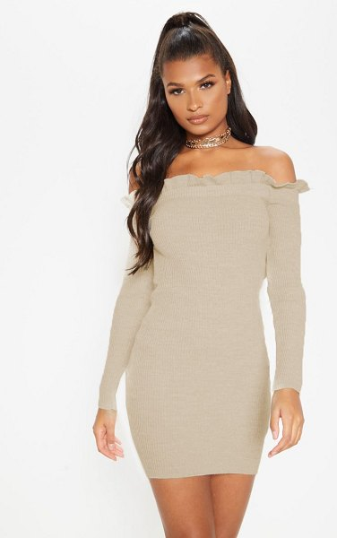 PrettyLittleThing frill edge knitted mini dress in oatmeal