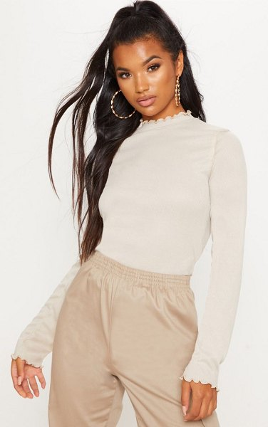 PrettyLittleThing frill rib high neck long sleeve top in stone