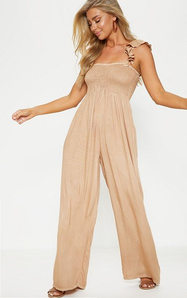 PrettyLittleThing frill strap beach jumpsuit in sand