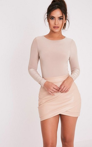 PrettyLittleThing gabriella faux leather mini skirt in nude