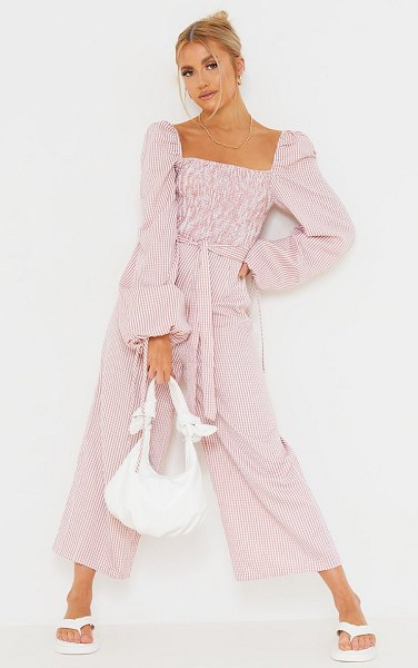 PrettyLittleThing gingham shirred bust tie waist culotte jumpsuit in pink