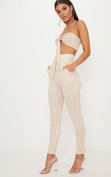 PrettyLittleThing gingham skinny pants in nude
