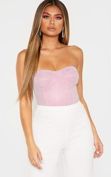 PrettyLittleThing glitter bandeau cupped bodysuit in pink