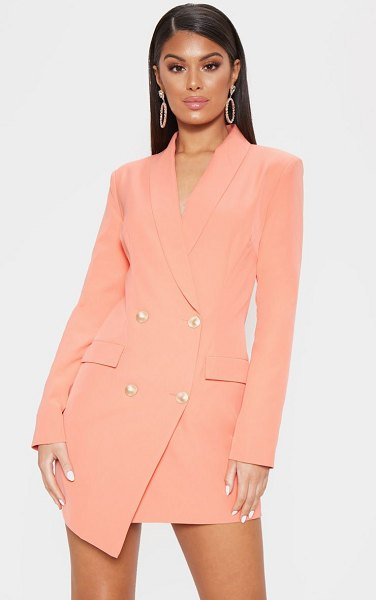 PrettyLittleThing gold button blazer dress in coral