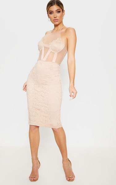 PrettyLittleThing halterneck lace cup detail midi dress in taupe