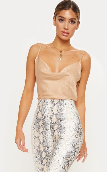 PrettyLittleThing hammered satin cowl cami in champagne