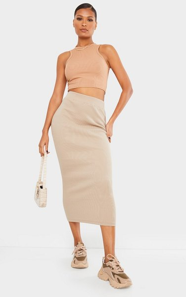 PrettyLittleThing heavy rib bodycon maxi skirt in taupe