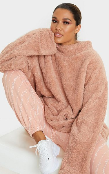 PrettyLittleThing high neck borg sweater in rose