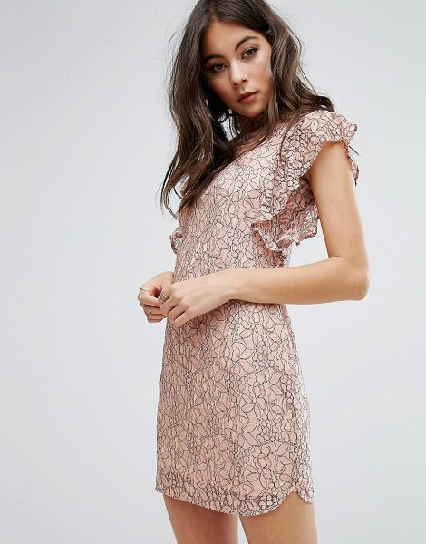 "PrettyLittleThing high neck frill sleeve bodycon dress in pink - """"Dress by PrettyLittleThing, Lined lace, High neck,..."