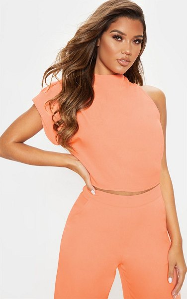 PrettyLittleThing high neck one shoulder blouse in peach