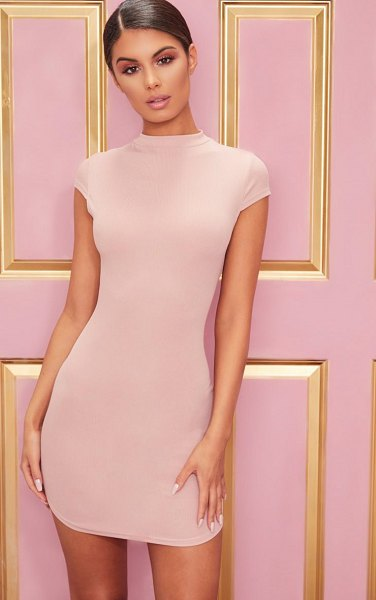 PrettyLittleThing high neck ribbed bodycon dress in rose