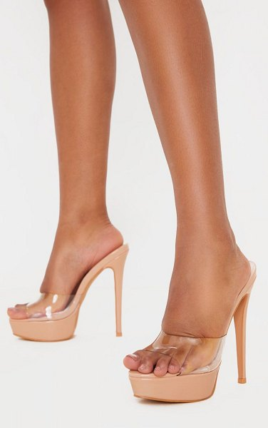 PrettyLittleThing high platform clear mule sandals in nude