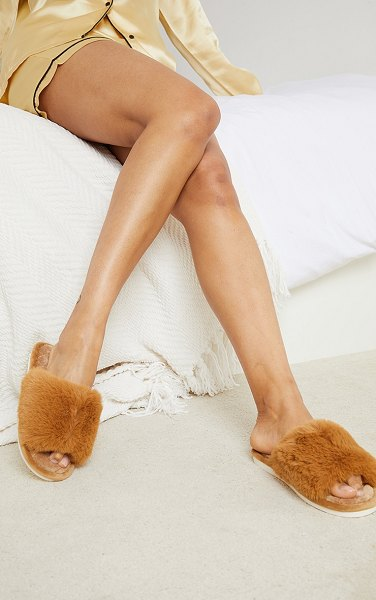 PrettyLittleThing home fluffy one strap quilted sole slippers in tan