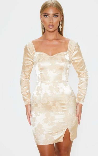 PrettyLittleThing jacquard puff sleeve bodycon dress in champagne