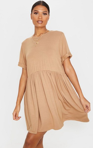 PrettyLittleThing jersey oversized smock dress in camel