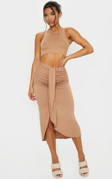PrettyLittleThing jersey panel front midi skirt in camel