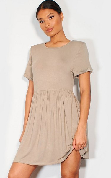 PrettyLittleThing jersey smock dress in taupe