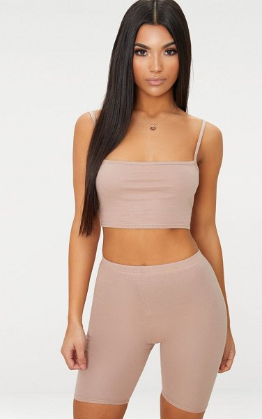 PrettyLittleThing jersey square neck crop top in taupe