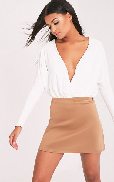 PrettyLittleThing jessica a-line mini skirt in camel
