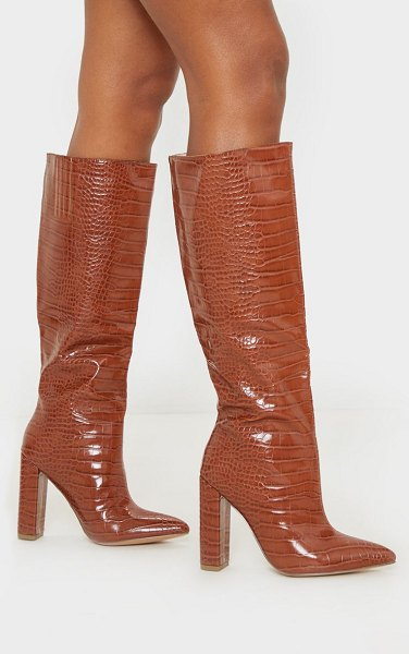 PrettyLittleThing knee high point block heel boot in tan