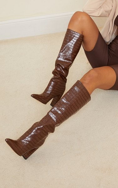PrettyLittleThing knee high point block heel boots in chocolate