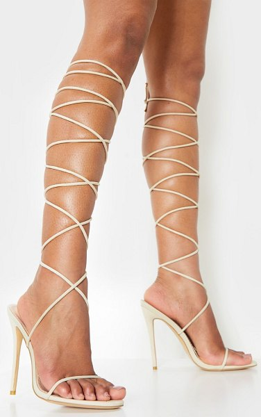 PrettyLittleThing knee high strappy sandal in nude