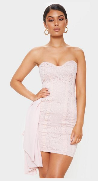 PrettyLittleThing lace bandeau bodycon dress in nude