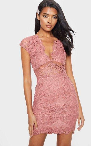 PrettyLittleThing lace bodycon cap sleeve dress in rose