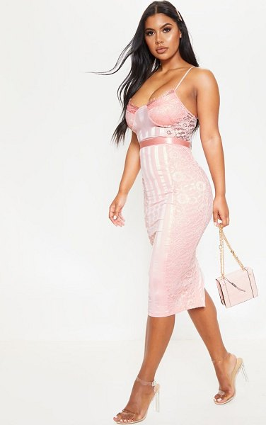 PrettyLittleThing lace lined midi dress in pink
