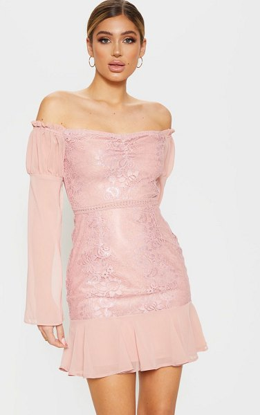 PrettyLittleThing lace puff sleeve frill detail bodycon dress in rose -  nSteal all of the stares in this occasion worthy...