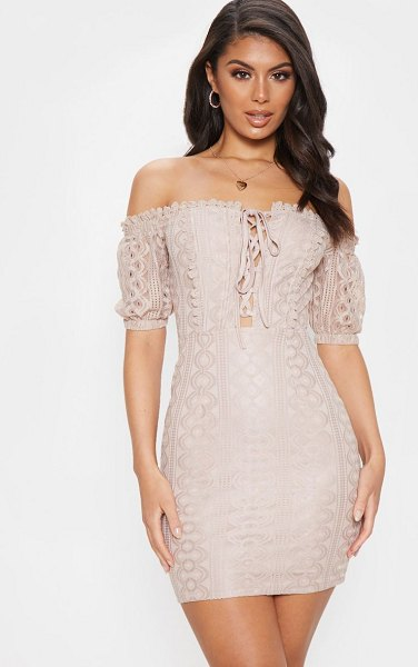 PrettyLittleThing lace up bardot lace bodycon dress in stone
