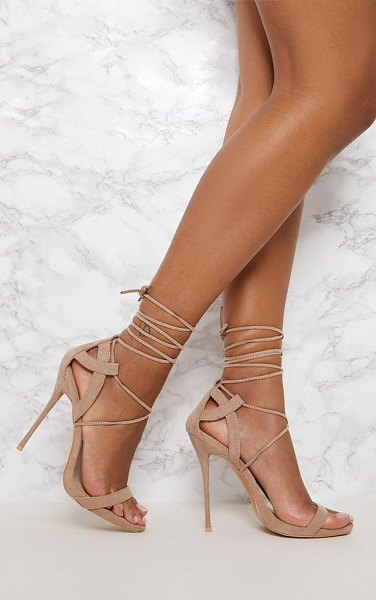 PrettyLittleThing lace up sandals in taupe