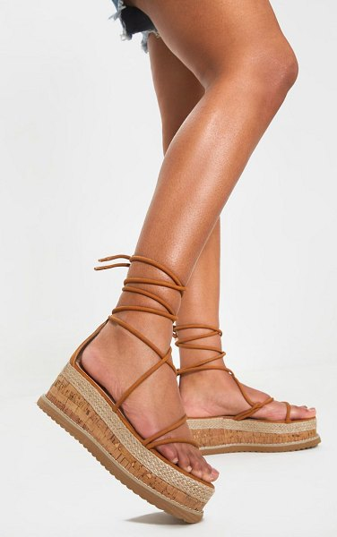 PrettyLittleThing lace up strappy flatform sandal in tan