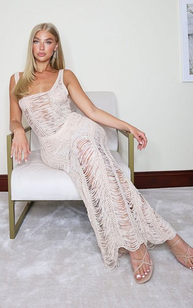 PrettyLittleThing ladder detail knitted maxi dress in stone