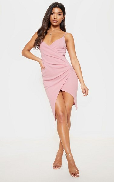 PrettyLittleThing lauriell wrap front crepe midi dress in rose - Rose Wrap Front Crepe Midi DressChannel slick and...