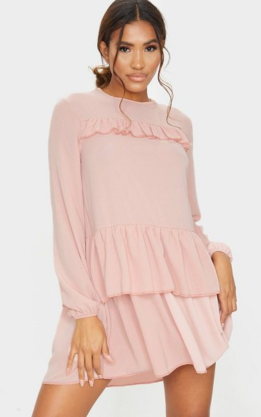 PrettyLittleThing layered frill smock dress in nude