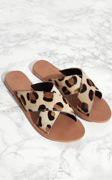 PrettyLittleThing leather cross strap sandal in leopard