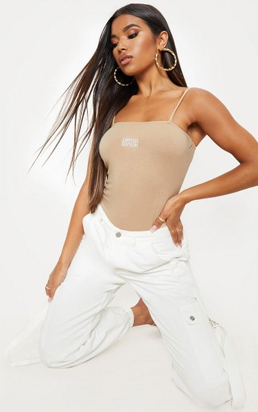 PrettyLittleThing limited edition embroidered bodysuit in sand